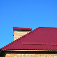 New Metal Red House Roofing Construction.